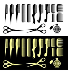 Combs and scissors vector image