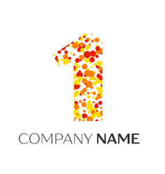 Number one with orange yellow red particles vector