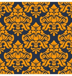 Orange colored floral arabesque seamless pattern vector
