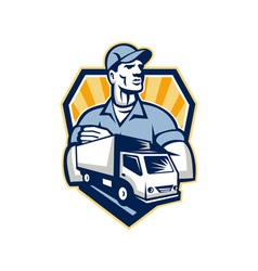 Removal Man Delivery Truck Crest Retro vector image