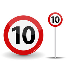 Round red road sign speed limit 10 kilometers per vector