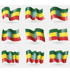 Set of Ethiopia flags in the air vector image
