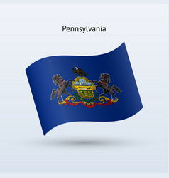 State of pennsylvania flag waving form vector