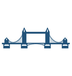 tower bridge blue silhouette isolated on white vector image