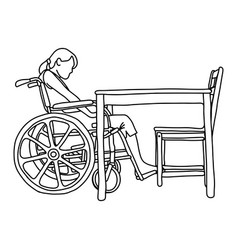 woman in wheelchair in front of empty table vector image