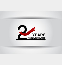 2 years anniversary design with red ribbon vector