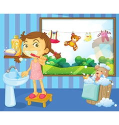 A child brushing her teeth vector