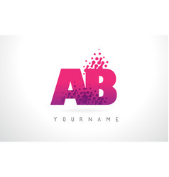 Ab a b letter logo with pink purple color vector