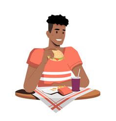 Afro-american guy eating hamburger fries and cola vector