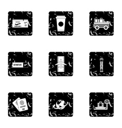 Airport check-in icons set grunge style vector