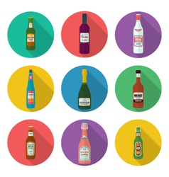 alcohol bottles icons set vector image vector image