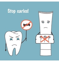 Angry tooth and toothpaste cartoon characters vector image