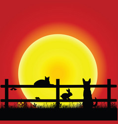 Animal on sunset with grass and fence vector