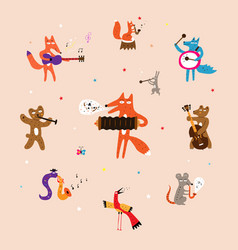 Animals plaing on musical instruments vector
