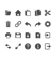 Application toolbar glyph icons vector