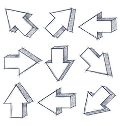 Arrows set outline signs with pencil hatching vector