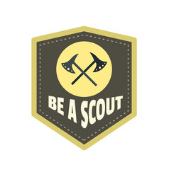 be a scout axe logo flat style vector image