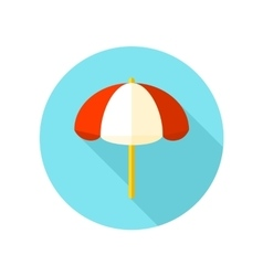 Beach Parasol flat icon with long shadow vector image