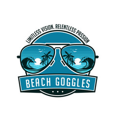 beach sunglasses emblem logo vector image