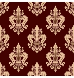 Beige french lilies pattern on red background vector image