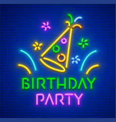 birthday party neon hast vector image