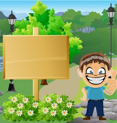 Boy in Park with Sign 3 vector