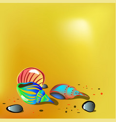 Bright shells on sand vector