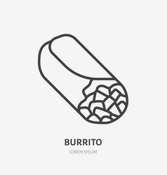 burrito flat line icon thin sign of vector image
