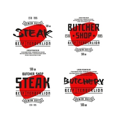 Butchery and steak label vector