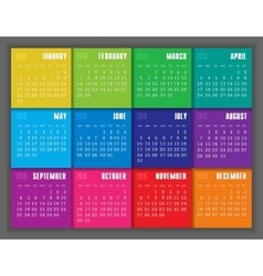 Calendar 2016 year with colored square vector image