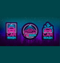 Car wash logo set design in neon style vector