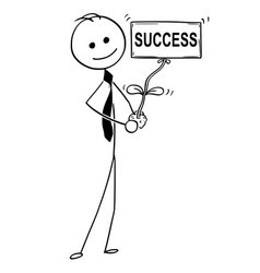Cartoon of businessman with plant as success sign vector