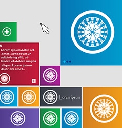 Casino roulette wheel icon sign buttons Modern vector