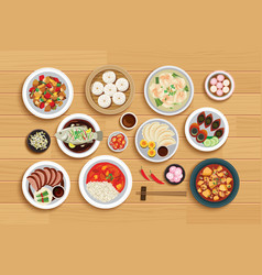 Chinese food on top view wooden background vector