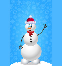 christmas and new year card with snowman in hat vector image
