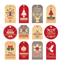 christmas labels holiday tags and badges with vector image
