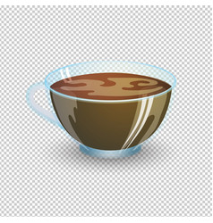 Classic black coffee in a transparent cup vector