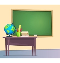 Classroom with green chalkboard vector