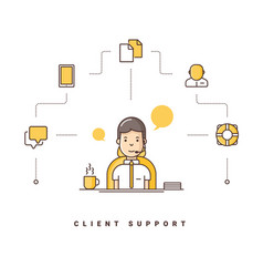 Client support cartoon character talking on vector