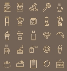 Coffee shop line color icons on brown background vector