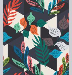 Colorful tropical leaf fern geo seamless pattern vector