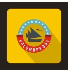 Columbus day badge icon flat style vector