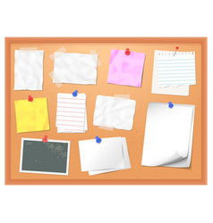 cork board with pinned notes pin memo for vector image
