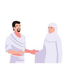 Couple people pilgrims hajj on white background vector