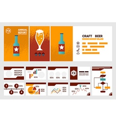 craft beer company annual report cover A4 sheet vector image