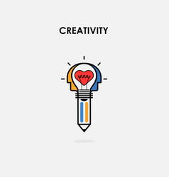 creative light bulb and pencil icon heart icon vector image