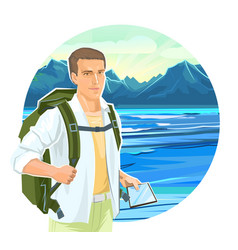 cute boy tourist with a tablet navigator backpack vector image
