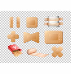 different designs of bandages on transparent vector image