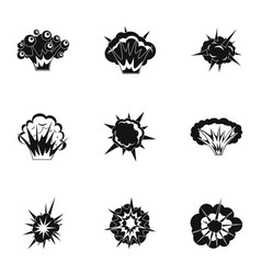 different explosion icons set simple style vector image