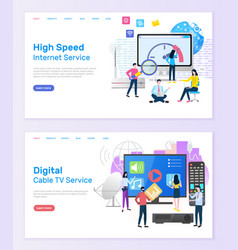 Digital cable tv service high speed internet vector
